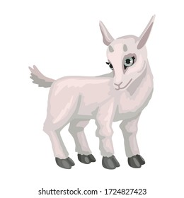Baby goat cub. Farm animal. Hand drawn cute small goat. Cartoon vector illustration isolated on white background