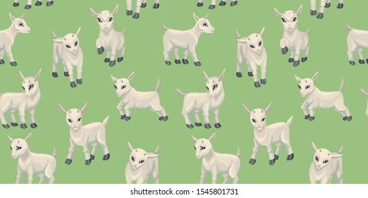 Baby goat cubs. Seamless pattern. Farm animals Hand drawn cute small goat. Cartoon vector illustration isolated on white background
