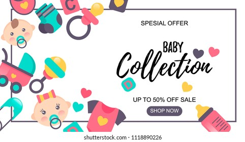 Baby Goods sale banner. Special offer. Sale -50%. Could be used for store, shop, internet, newsletter, advertisement design.
