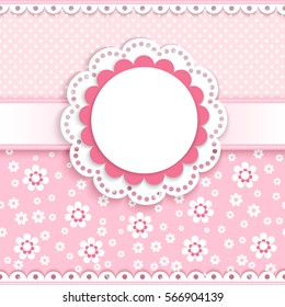 baby greeting card with a round lace on a pink background with abstract flowers and  polka dots, vector illustration