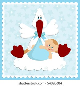 Baby greetings card  in blue colors (EPS10)