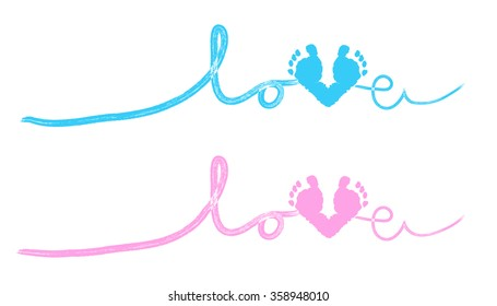Baby hand and foot print love vector background