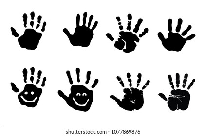baby hand hands print child hand print black silhouette vector sign Icon clipart prints kid kids smile smiley face mains hand hands no touch face fun funny school kids children painted stamp finger