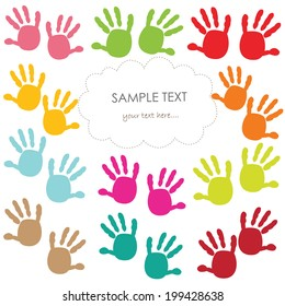Baby handprint greeting card vector