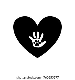Baby handprint with pet paw print on the palm inside of black heart icon isolated on white background. Black and white vector illustration, logo, icon.