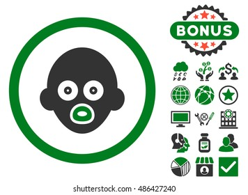 Baby Head icon with bonus images. Vector illustration style is flat iconic bicolor symbols, green and gray colors, white background.
