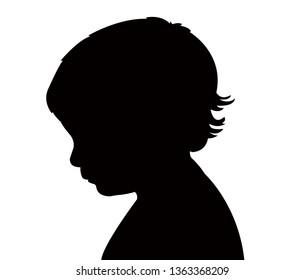 a baby head silhouette vector