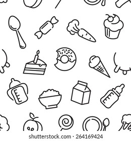 Baby healthy food thin seamless pattern contains thin line icons