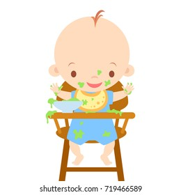 Baby in High Chair Eating Messy Vector Illustration