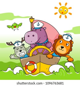 baby hippo and friends in the ocean. cute illustration for book cover and kids wear fashion design