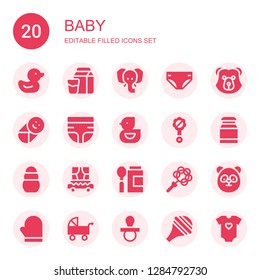 baby icon set. Collection of 20 filled baby icons included Duck, Milk, Elephant, Diaper, Bear, Baby, Ducky, Rattle, Toy, Carriage, Baby food, Panda, Mitten, Pushchair, Pacifier