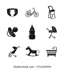 baby icon set with cradle, nipple, baby carriage, toys. equipment for baby care illustration design elements