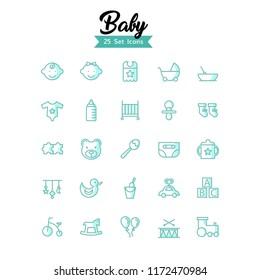 baby icon set shady style eps 10