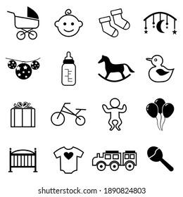 Baby icon set, baby symbol vector illustration