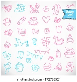 Baby icon set, vector illustration hand drawn in doodles