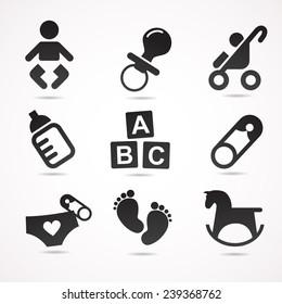 Baby icon set. Vector illustration.