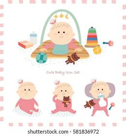baby icon set. vector illustration