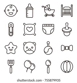 Baby Icons Minimalistic Flat Line Icon . Baby Symbol Set Collection