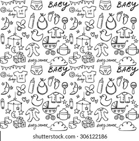Baby icons seamless vector pattern