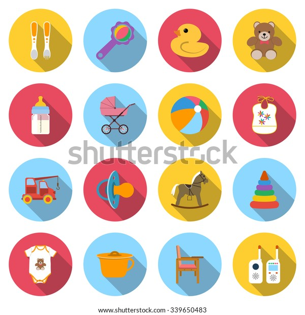 Baby Icons Set Colored Icons Toys Stock Vector (Royalty Free
