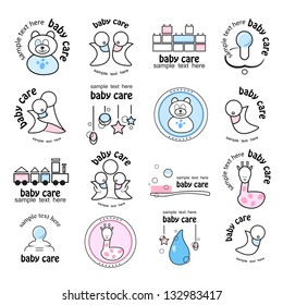 Baby Icons - Set - Isolated On White Background, Vector Illustration, Graphic Design Editable For Your Design. Logo Symbols