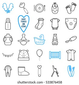Baby icons set. Items and clothes for kids. Isolated vector illustration on white background.