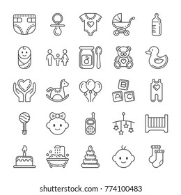 Baby icons set. Line style