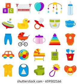 Baby icons set. Vector. Baby shower symbols isolated on white background. Collection template elements for newborn kids in flat design. Colorful illustration