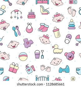 Baby icons vector kids toy for infant boys or girls in babyroom and childs bottle illustration set of children signs bed for newborn seamless pattern background