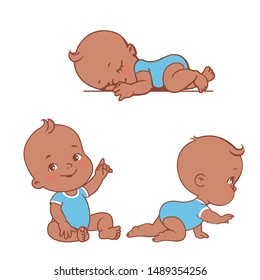 Baby illustrations set. Newborn and toddler care and development. Little black skin baby boyl sit, craw, sleep First year of child. African american  boy in diaper and bodysuit. Vector illustration