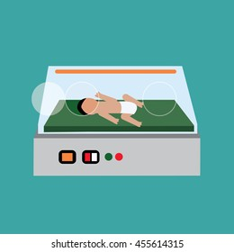 baby in the  incubator vector. baby in the incubator graphic. art. icon. symbol
