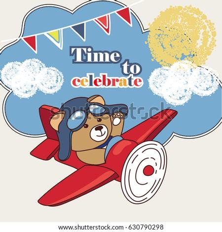 Invitation Cards For Childrens Birthday Teddy Bear Flies On