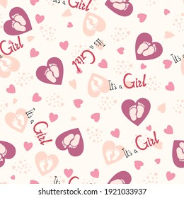 Baby invitation seamless pattern for girls with heart. Text It s a girl. Baby design birth vector illustration. Doodle. Vector illustration