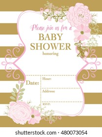Baby Invitation template / pink flower / Gold Stripes