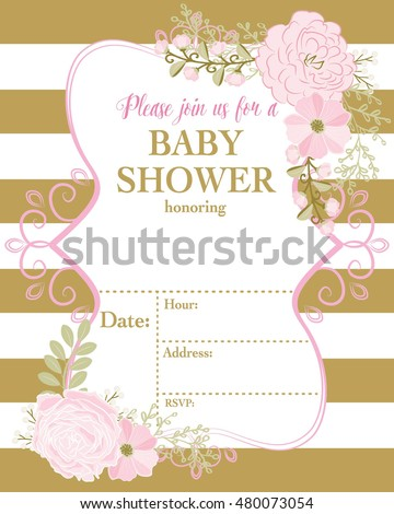 Baby Invitation Template Pink Flower Gold Vector De Stock Libre De