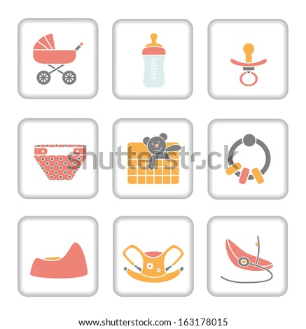 Baby Items Icon Set Stock Vector Royalty Free 163178015 Shutterstock