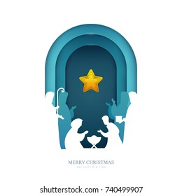Baby jesus born in Bethlehem in paper cut trendy craft cartoon style. Christmas, new year modern design for advertising, branding background greeting card, cover, poster, banner. Vector illustration.