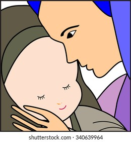 Baby Jesus and Mary-Mary holding the baby Jesus- Vector illustration
