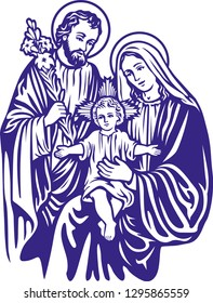 Baby jesus with mother mary and joseph
