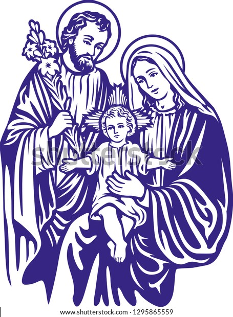 Virgin Mary Holding Baby Jesus. No Transparency And Gradients.. Royalty Free  Cliparts, Vectors, And Stock Illustration. Image 9816815.