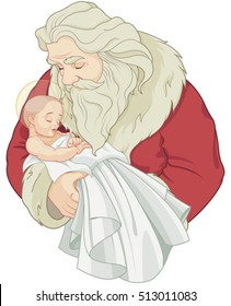 Baby Jesus and Santa Claus