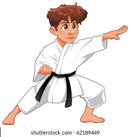 Baby Karate Player. Vector cartoon isolated character