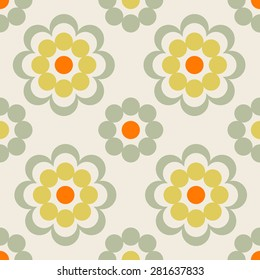 Baby and kids style abstract geometric background, cute seamless pattern with flowers, wrapping paper, 60s, 70s, 80s fashion trendy fabric, simple ornament, template, layout for design