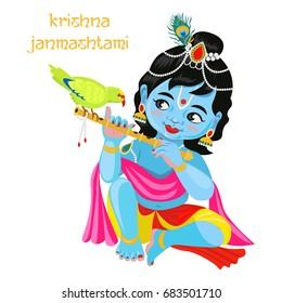 Baby Krishna with flute and parrot. Krishna janmashtami greeting card.Vector illustration isolated on white background