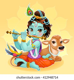 Baby Krishna with sacred cow. Vector cartoon illustration.