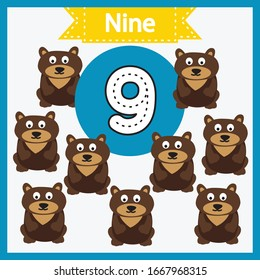 Baby learning cards with numbers and animals. Learning to count and to write numbers. Handwriting practice sheet. Educational game for children. Number 9 with