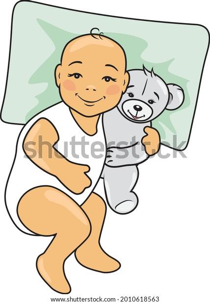 baby-lies-on-pillow-hugs-600w-2010618563