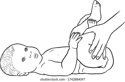 Baby line drawing - infant wind and massage. Hand drawn vector illustration of infant in diaper receiving massage from an adult