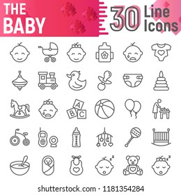 Baby line icon set, child symbols collection, vector sketches, logo illustrations, kid signs linear pictograms package isolated on white background, eps 10.