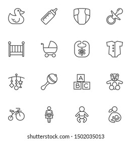 Baby line icons set. linear style symbols collection, outline signs pack. vector graphics. Set includes icons as rubber duck, pram, maternity, newborn baby, diaper, rattle, pacifier, milk bottle, crib